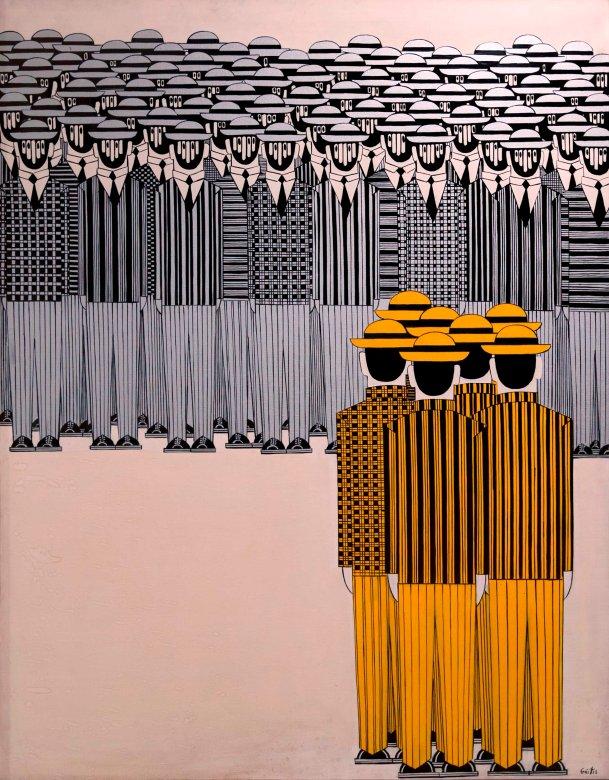 Γιάννης Γαΐτης,Παρέλαση,1974,Λάδι σε Μουσαμά,147x116 εκ