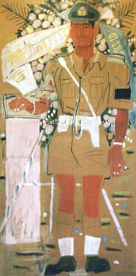 Γιάννης Τσαρούχης,Αξιωματικός της Αεροπορίας Καταθέτων Στέφανον,1950-51,Υδατογραφία με κόλλα σε πανί,200x100εκ