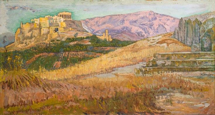 Κωνσταντίνος Μαλέας,Η Ακρόπολη απο την Πνύκα,1914-17,Λάδι σε χαρτόνι,50 x 100εκ